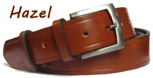 38mm Hazel Handmade English Bridle Leather Belt With Buckle - made in England by Bucklebox